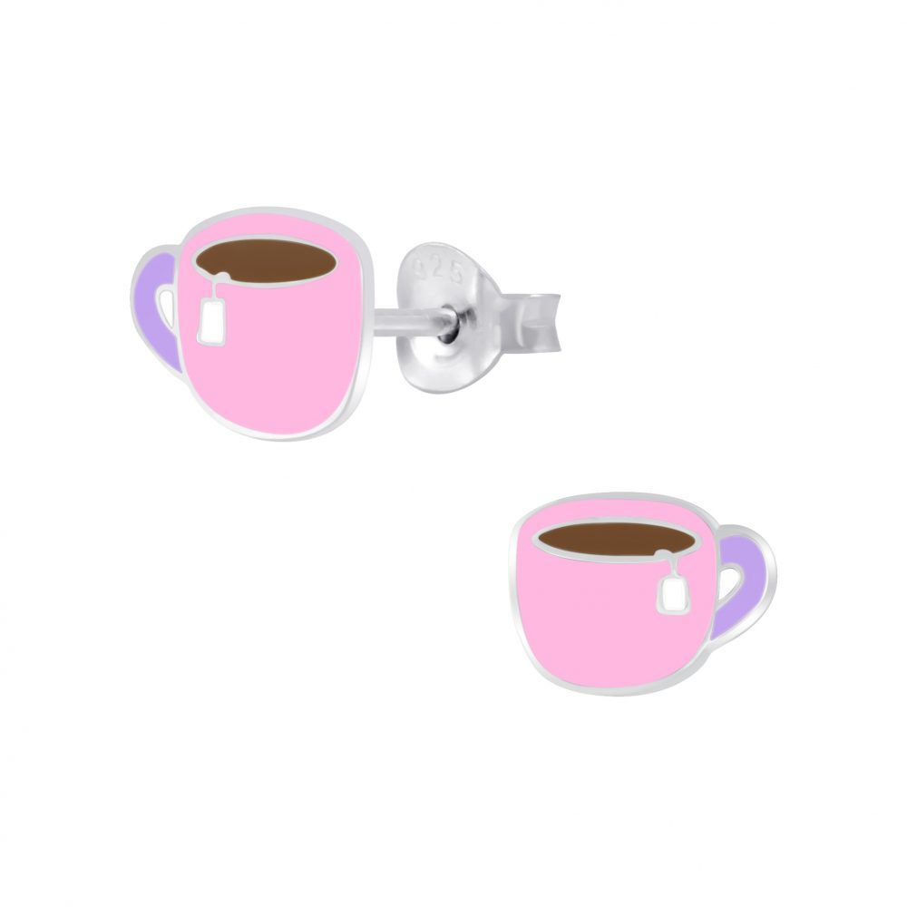 Wholesale Silver Cup Of Tea Stud Earrings