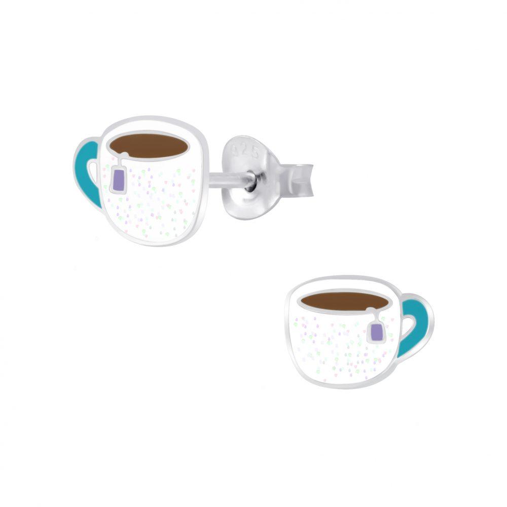 Wholesale Silver Cup Of Tea Stud Earrings