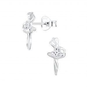 Wholesale Silver Ballerina Stud Earrings