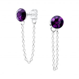 Wholesale 6mm Crystal Silver Stud Earrings with Chain
