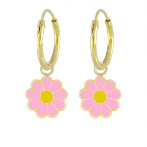 Wholesale Silver Daisy Flower Charm Hoop Earrings