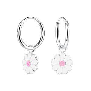 Wholesale Silver Daisy Flower Charm Hoop Earrings