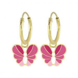 Wholesale Silver Butterfly Charm Hoop Earrings