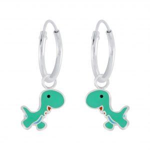 Wholesale Silver Dinosaur Charm Hoop Earrings