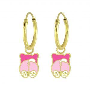 Wholesale Silver Dog Charm Hoop Earrings