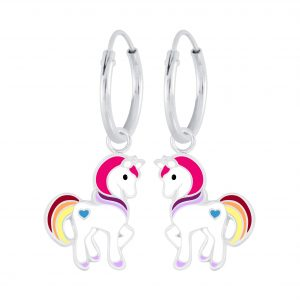 Wholesale Silver Unicorn Charm Hoop Earrings