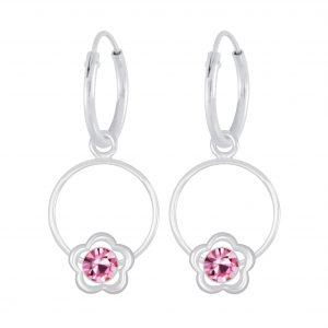 Wholesale Silver Flower Wire Crystal Charm Hoop Earrings