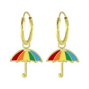 Wholesale Silver Umbrella Charm Hoop Earrings
