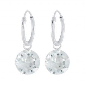 Wholesale Silver 7mm Charm Hoop Earrings with Swarovski Crystal