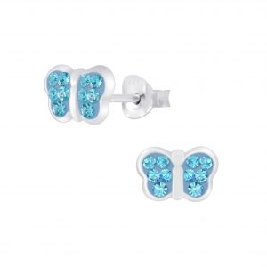 Wholesale Silver Butterfly Crystal Stud Earrings