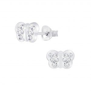 Wholesale Silver Butterfly Crystal Stud Earrings