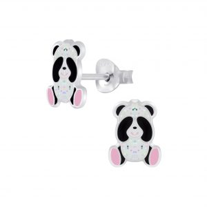 Wholesale Silver Panda Stud Earrings