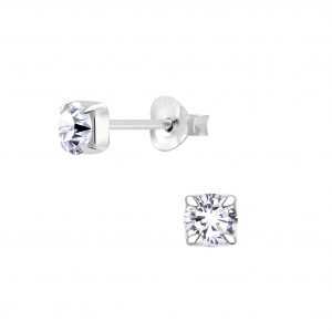 Wholesale 4mm Round Cubic Zirconia Silver Stud Earrings