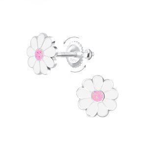 Wholesale Silver Daisy Screw Back Earrings