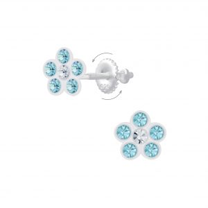 Wholesale Silver Flower  Crystal Screw Back Earrings
