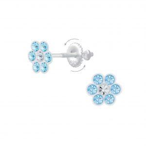 Wholesale Silver Flower Crystal Screw Back Earrings