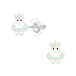 Wholesale Silver Hula Hooping Unicorn Screw Back Earrings