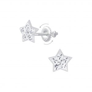Wholesale Silver Star Crystal Screw Back Earrings