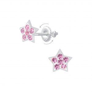 Wholesale Silver Star Crystal Screw Back Earrings