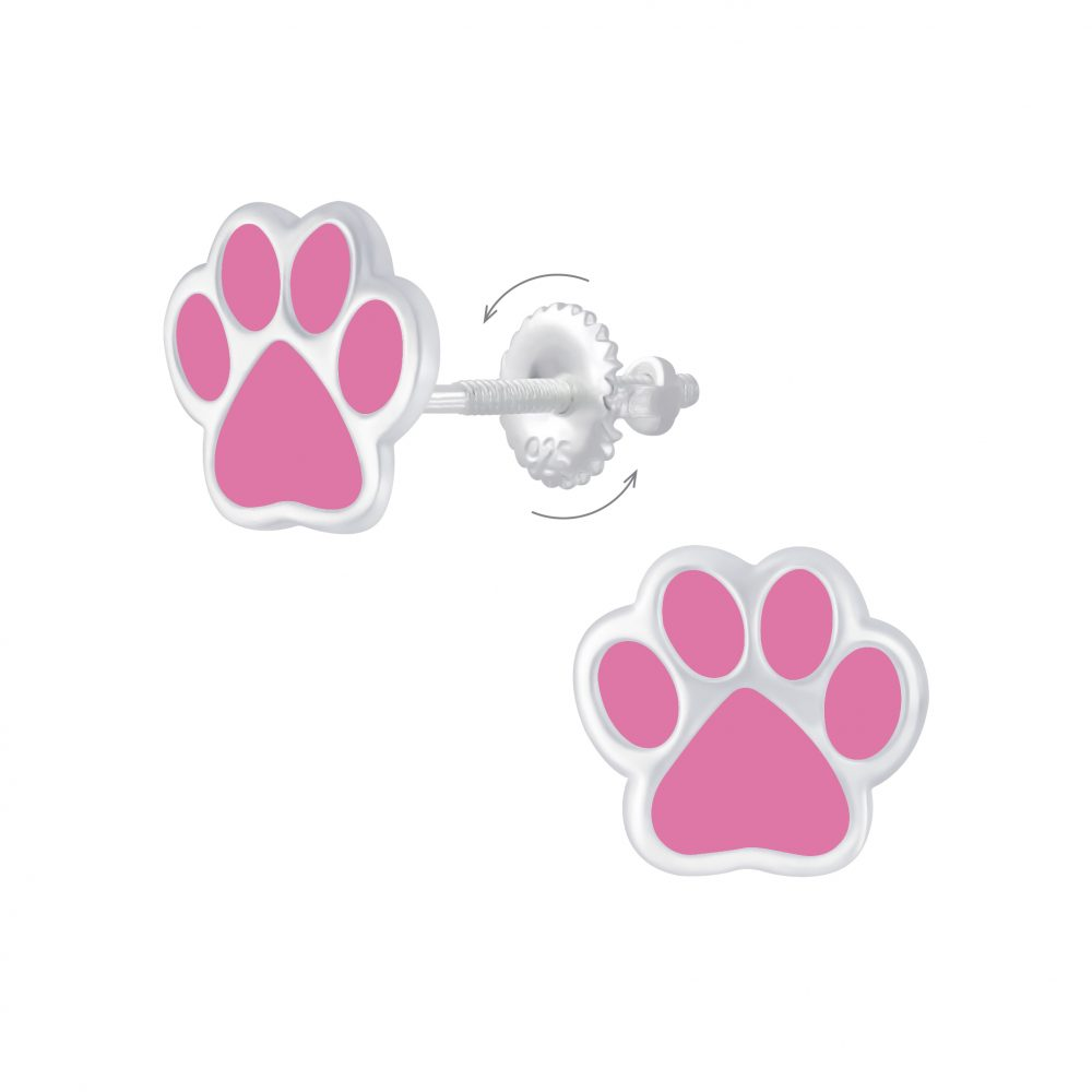 Wholesale Silver Paw Print Screw Back Earrings