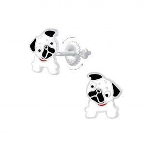 Wholesale Silver Bulldog Screw Back Earrings