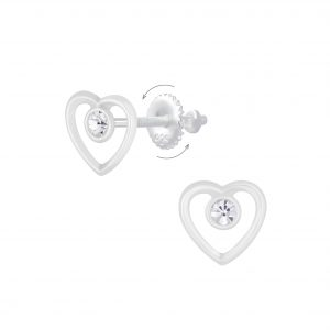 Wholesale Silver Heart Screw Back Earrings
