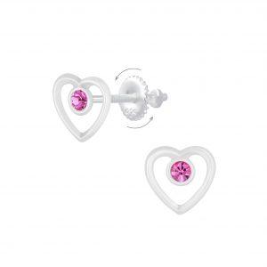 Wholesale Silver Heart Screw Back Earrings