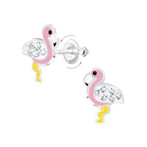 Wholesale Silver Flamingo Screw Back Earrings