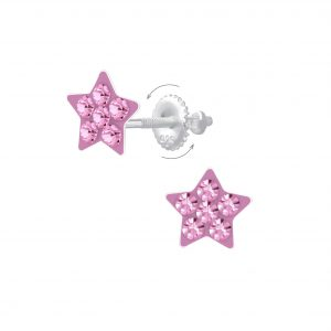 Wholesale Silver Star Screw Back Earrings
