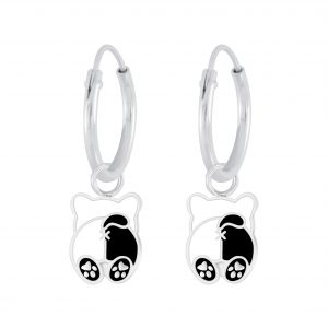 Wholesale Silver Dog Charm Hoop Earrings