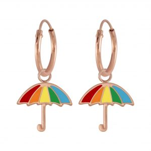 Wholesale Silver Umbrella Charm Hoop Earrings