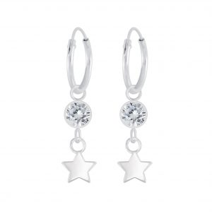 Wholesale Silver Star Charm Hoop Earrings
