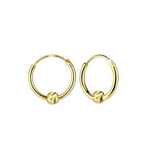 Wholesale Sliver Diamond Cut Ball Hoop Earrings