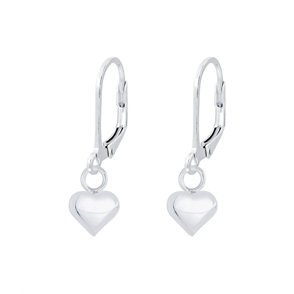 Wholesale Silver Heart Lever Back Earrings