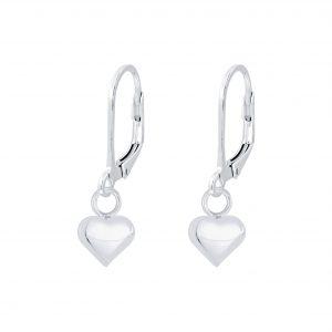 Wholesale Silver Heart Lever Back Earrings