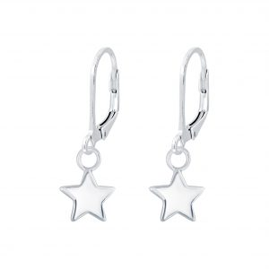Wholesale Silver Star Lever Back Earrings