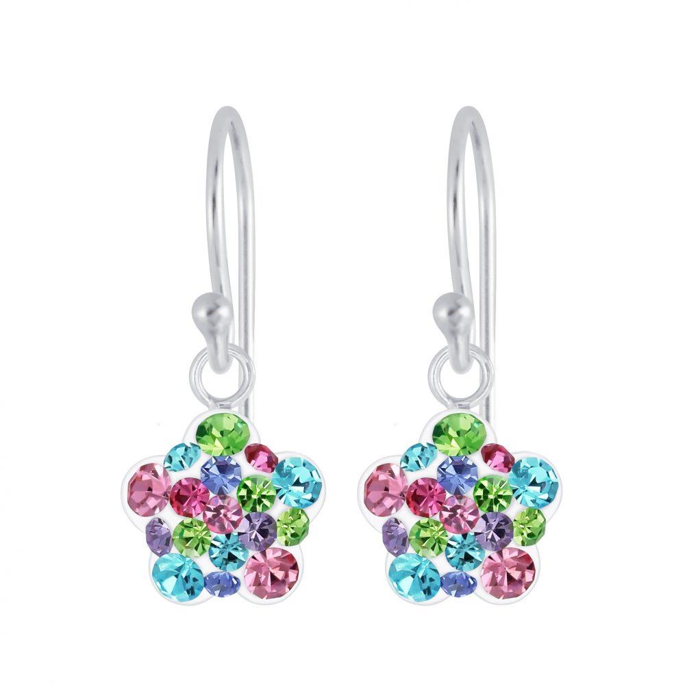 Wholesale Silver Flower Crystal Earrings
