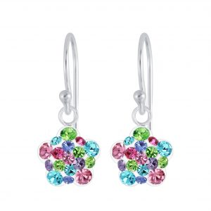 Wholesale Silver Flower Crystal Earrings
