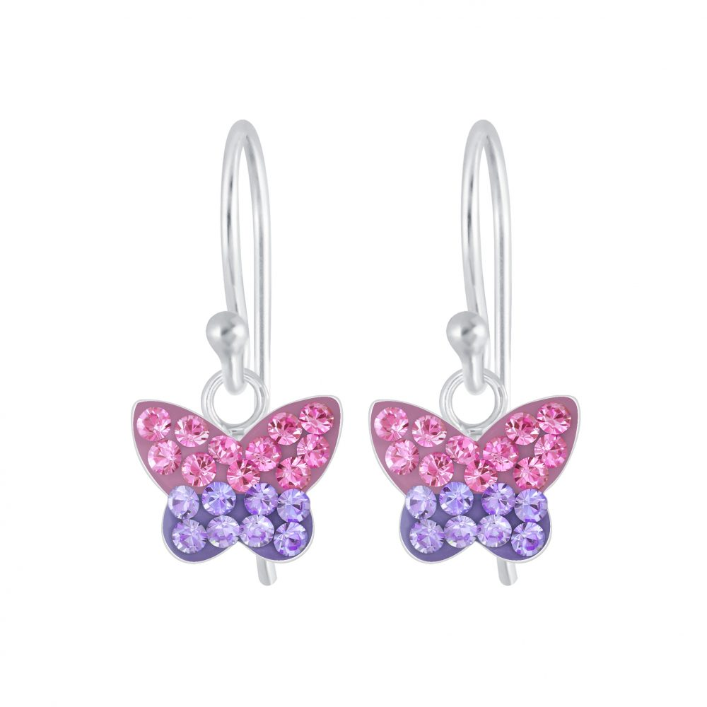 Wholesale Silver Butterfly Crystal Earrings