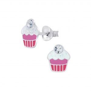 Wholesale Silver Cupcake Stud Earrings