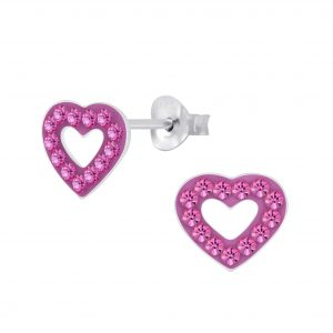 Wholesale Silver Crystal Heart Stud Earrings