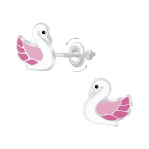 Wholesale Silver Swan Screw Back Earrings