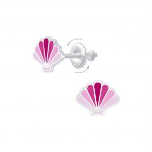 Wholesale Silver Shell Screw Back Earrings