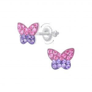 Wholesale Silver Butterfly Screw Back Earrings
