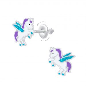 Wholesale Silver Winged Unicorn Screw Back Earrings