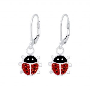 Wholesale Silver Ladybug Lever Back Earrings