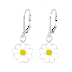 Wholesale Silver Daisy Flower Lever Back Earrings