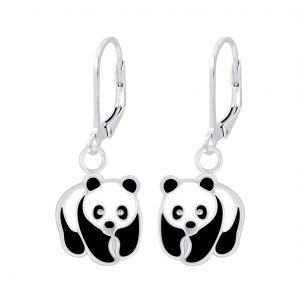 Wholesale Silver Panda Lever Back Earrings