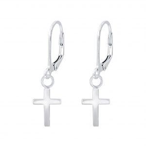 Wholesale Silver Cross Lever Back Earrings
