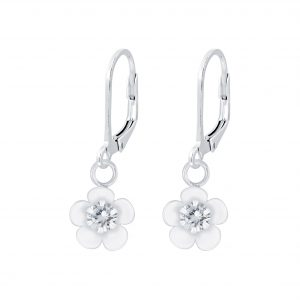 Wholesale Silver Flower Cubic Zirconia Lever Back Earrings